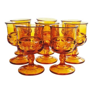 Vintage Amber Pressed Glass Goblets - Set of 8