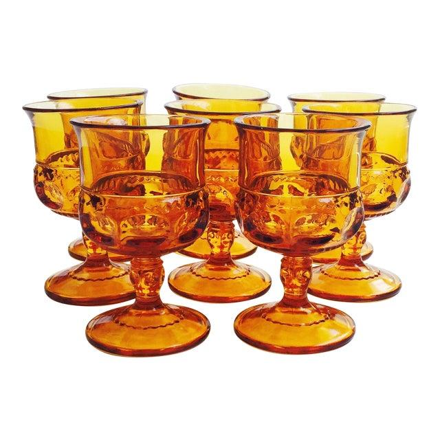 Vintage Amber Pressed Glass Goblets - Set of 8 - Image 1 of 5