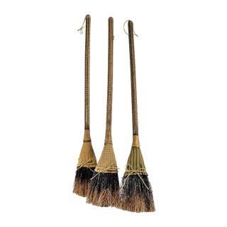 Primitive Rustic Straw Brooms – Set of 3