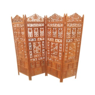 Solid Teak Pierce Carved Room Divider
