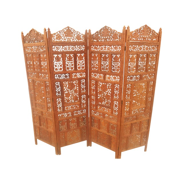 Image of Gorgeous Solid Teak Pierce Carved Room Divider