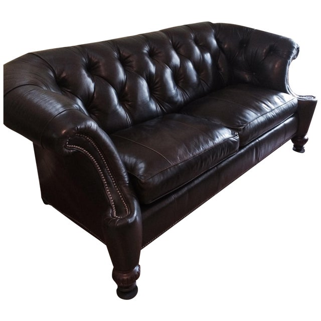 Southern Living Leather Sofa, Olive Brown - Image 1 of 4