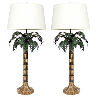 Pair of Killer Painted Metal and Brass Italian Palm Tree Lamps