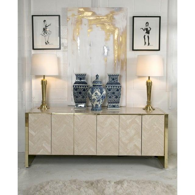 Ello Polished Travertine & Brass Credenza - Image 4 of 10