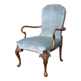 Vintage French Provincial Blue Fauteuil Chair
