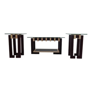 Modern Ant Walnut Maple Coffee & Side Tables - Set 3