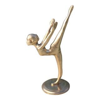 Vintage Modernist Solid Brass Ballerina Dancer