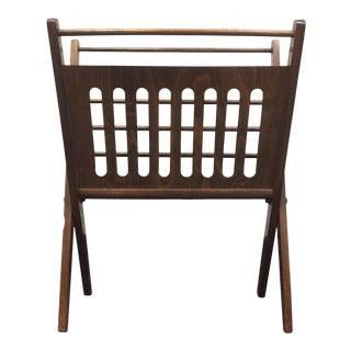 Mid-Century Modern Wooden Folding Magazine Rack