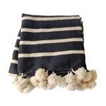Image of Striped Pom Pom Moroccan Blanket