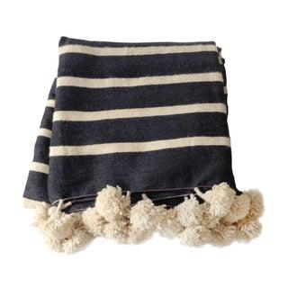 Striped Pom Pom Moroccan Blanket