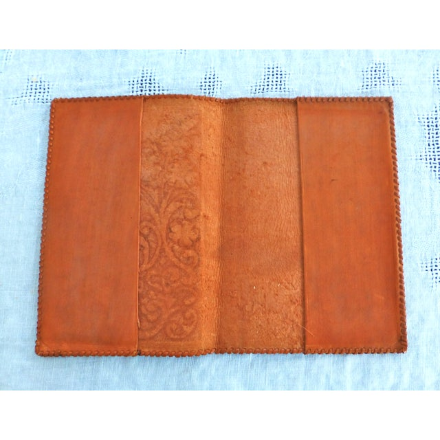 Mid-Century Hand-Crafted Brown Leather Book Cover - Image 4 of 5