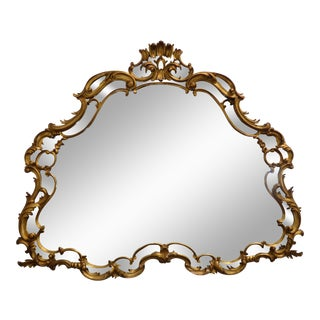 Vintage French Louis Rococo Solid Wood Gold Wall Mirror