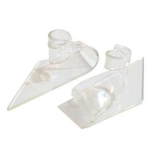 Modernist Lucite Candle Holders - A Pair