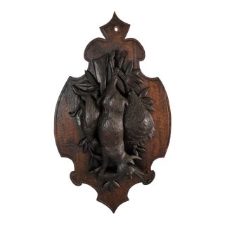 Antique Carved Black Forest Wall Plaque Hunting Fruits