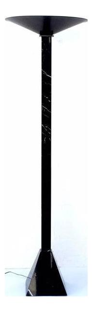 Postmodern Italian Black Marble Torchiere Floor Lamp   Image 2 Of 6