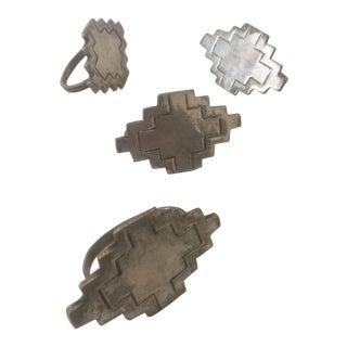 Vintage Nickel Silver Modernist Geometric Napkin Rings - Set of 4