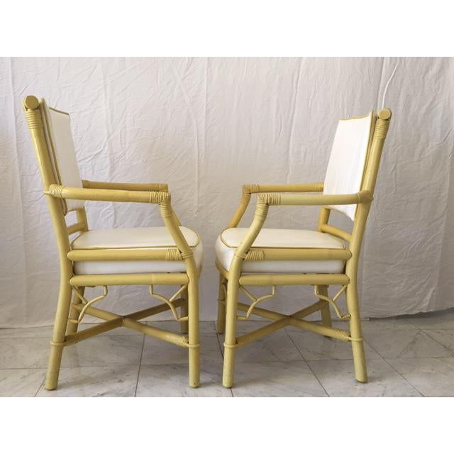 Vintage Daffodil Yellow Rattan Dining Chairs - Set of 6 - Image 11 of 11