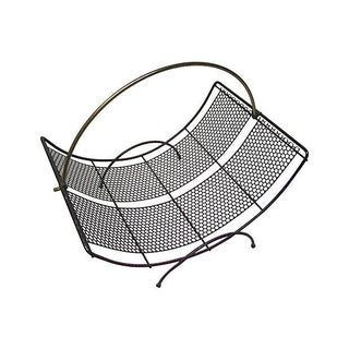 Vintage Perforated Metal Curved Magazine or Log Rack