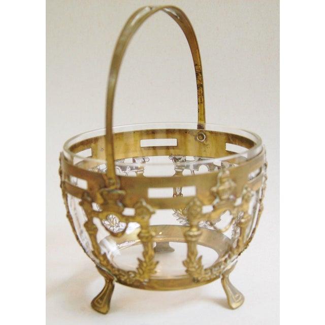 Antique Brass Filigree & Crystal Basket - Image 7 of 10