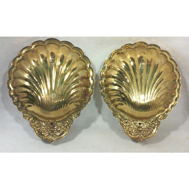 Solid Brass Shell Wall Candle Sconces - A Pair - Image 5 of 8