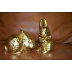 Image of Gold Heavy Weight Rabbit Figurines - Pair