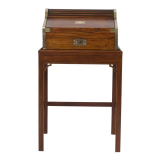 19th Century English Campaign Style Roll-Top Desk on Custom Stand