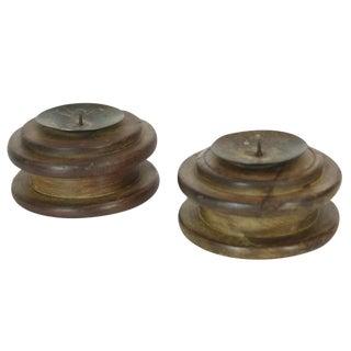 Vintage Wooden Candleholders - Set of 2