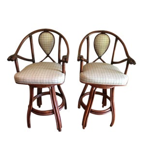 Ficks Reed Rattan Swivel Bar Stools - A Pair