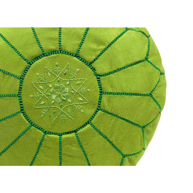 Suede Leather Pouf - Lime Green (Stuffed) - Image 2 of 3