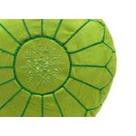Image of Suede Leather Pouf - Lime Green (Stuffed)