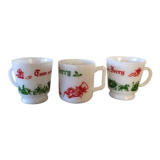 Vintage Milk Glass Christmas Mugs - Set of 3