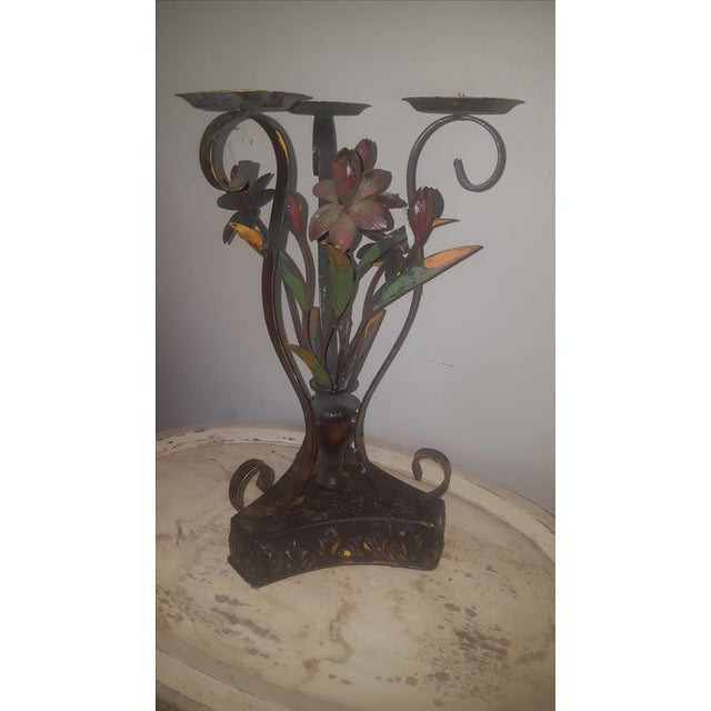 Large Metal Candle Holders - A Pair - Image 4 of 7