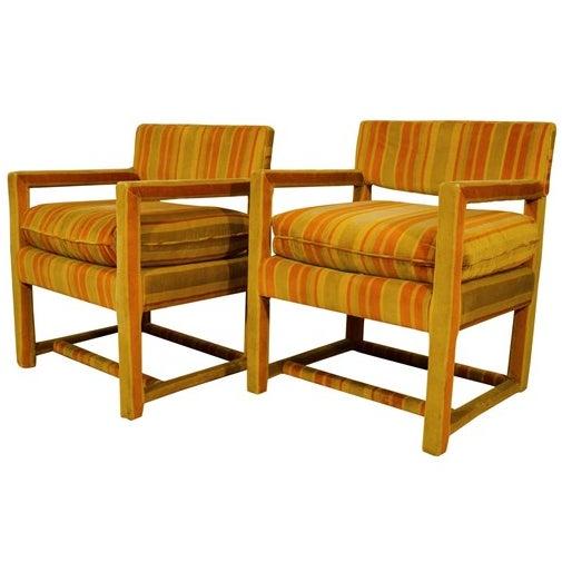 Mid-Century Orange Striped Velvet Armchairs - Pair - Image 1 of 10