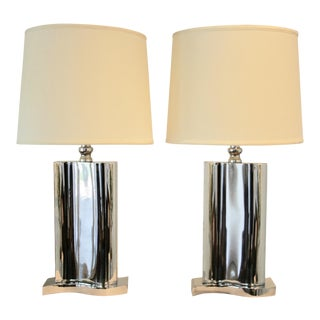 Large Modernist Chrome Lamps with Shades - A Pair