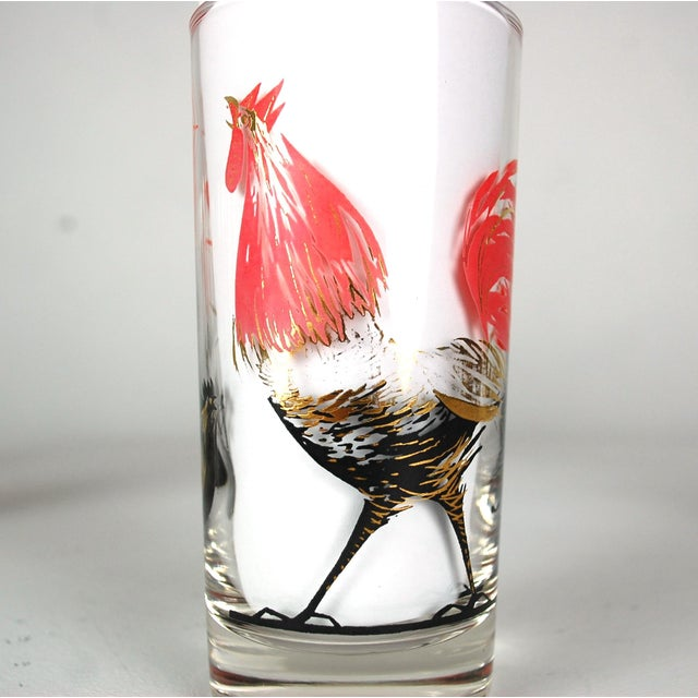 Mid-Century Rooster Highball Glasses - Set of 5 - Image 3 of 6