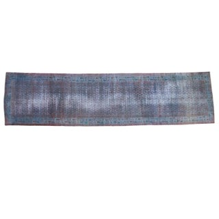"""Antique 1920s Over-Dyed Runner Rug - 3'4"""" X 13'3"""""""