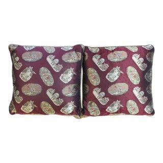 Paul Stuart Nursery Rhyme Burgundy Silk Pillows - A Pair