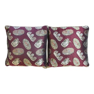 Paul Stuart Nursery Rhyme Burgundy Silk Pillows - A Pair