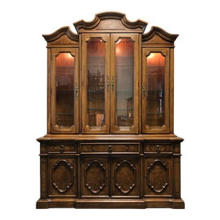 THOMASVILLE Ceremony Collection Burl Walnut Breakfront China Display Cabinet