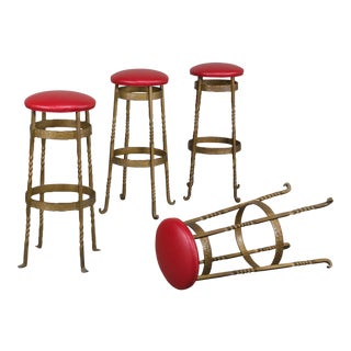 Set Four Vintage French Art Deco Gilded Iron Stools circa 1930