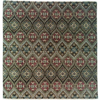 "Ikat, Hand Knotted Area Rug - 8' 0"" x 8' 2"""