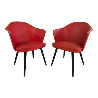 Italian Red Leather Lounge Chairs - A Pair