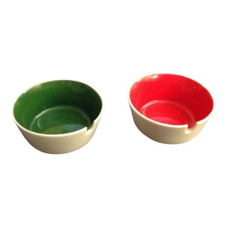 Mid-Century Red & Green Ashtrays - A Pair