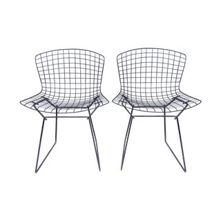 Harry Bertoia Black Side Chairs - Pair