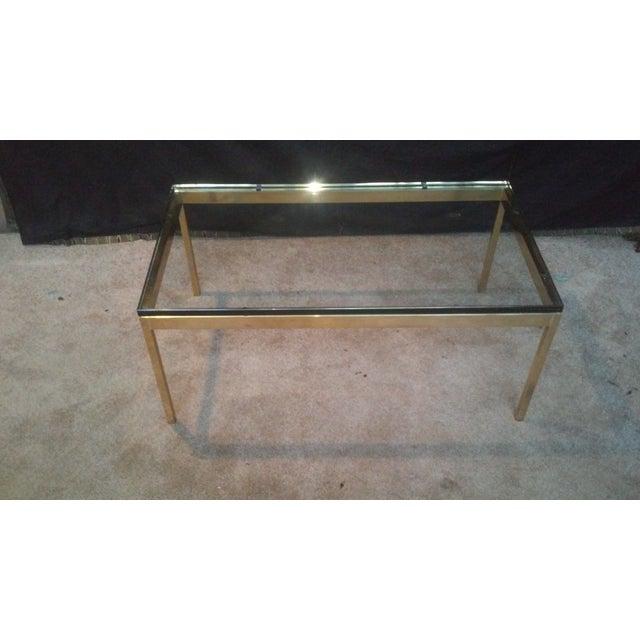 Image of Ward Bennett Brass & Glass Coffee Table