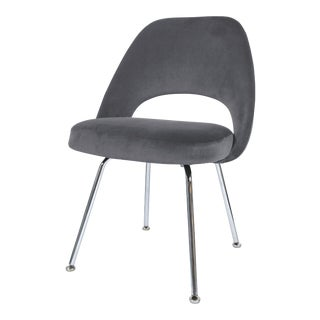 Saarinen Executive Armless Chair in Gunmetal Grey Velvet