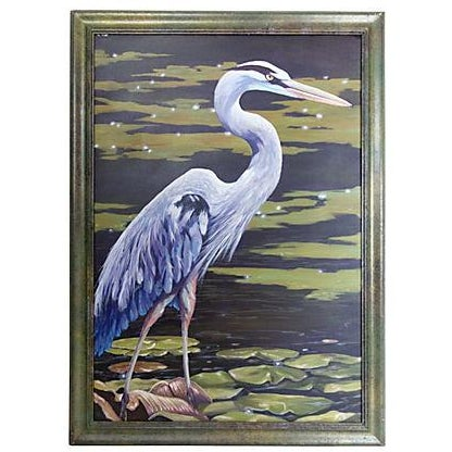 Dramatic Heron Portrait Painting - Image 1 of 6