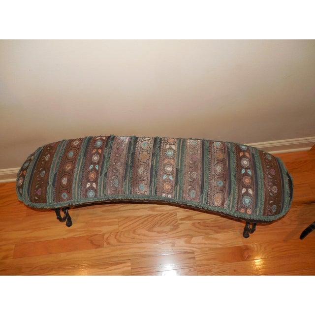 Hearth Bench: Antique Iron & Italian Brocade Hearth Bench