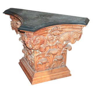 Italian Carved Pine Neoclassical Console