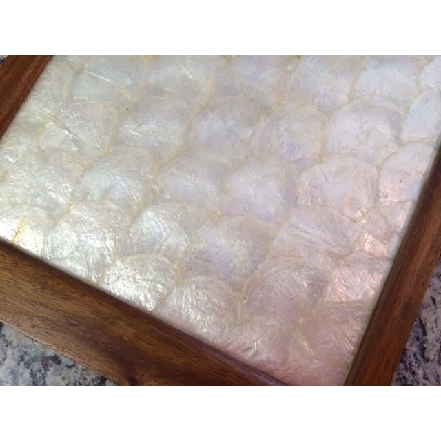 Vintage Gump's Capiz Shell & Wood Tray - Image 3 of 6